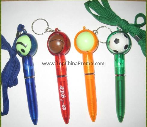 pen with lanyard, pen with ball
