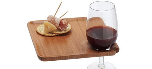 Square Bamboo Tray with Wine Glass Holder